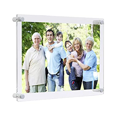Wall Mount Floating Lucite Picture Frames 8x10 Office Family,Clear Acrylic Decorative 8 x 10 Frameless Wall Frame uv Protected for Photo Art Memories Anniversary Wedding (Full frame size 9x11inch)