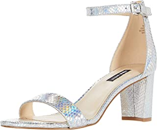 NINE WEST Pruce Block Heeled Sandal Silver 2 6