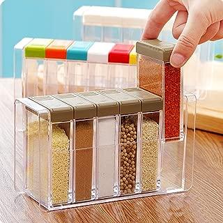 Spice Shaker, Windspeed 6 Pcs Seasoning Rack Spice Pots Storage Container Condiment Jars with Tray for Salt Sugar Cruet