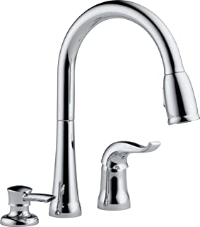 Delta Faucet Kate Single-Handle Kitchen Sink Faucet with Pull Down Sprayer, Soap Dispenser and Magnetic Docking Spray Head, Chrome 16970-SD-DST