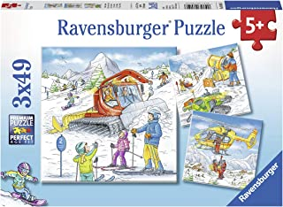 Ravensburger 08052, Let's Go Skiing! 3 x 49 Piece Puzzles in a Box, 3 x 49 Piece Puzzles for Kids, Every Piece is Unique, ...