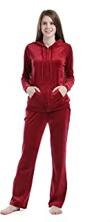Dolcevida Women's Active Solid Velour Tracksuit Zip up Hoodie & Pullover Sweatshirts and Sweat Pant Sweatsuit