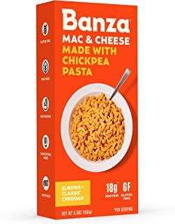 Banza Chickpea Pasta – High Protein Gluten Free Healthy Pasta – Mac & Cheese, Elbows with Classic Cheddar (Pack of 6)