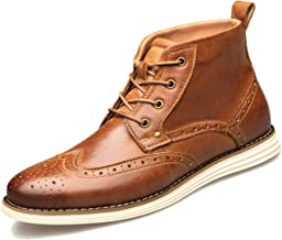 U-lite Mens Ankle Chukka Boots, Four Eyes Lace Up Oxford Brouge Booties for Men