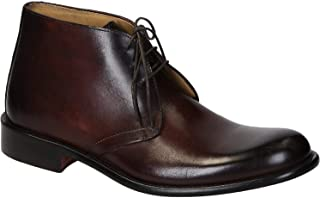 Leonardo Shoes Polacchine Uomo in Pelle di Vitello Marrone Bruciato