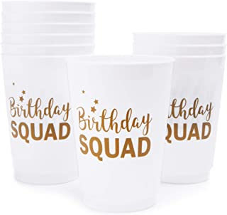 Blue Panda Plastic Party Cups - 16-Pack Reusable Tumblers, 16 oz White Plastic Cups, Birthday Party Supplies, Birthday Squad Design, 3 x 5.1 x 3 inches