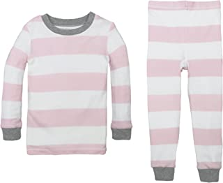 Burt's Bees Baby Baby Girl's Pajamas,  2-Piece PJ Set,  100% Organic Cotton Mo-7 Yrs,  Blossom Rugby Stripe,  12 Months