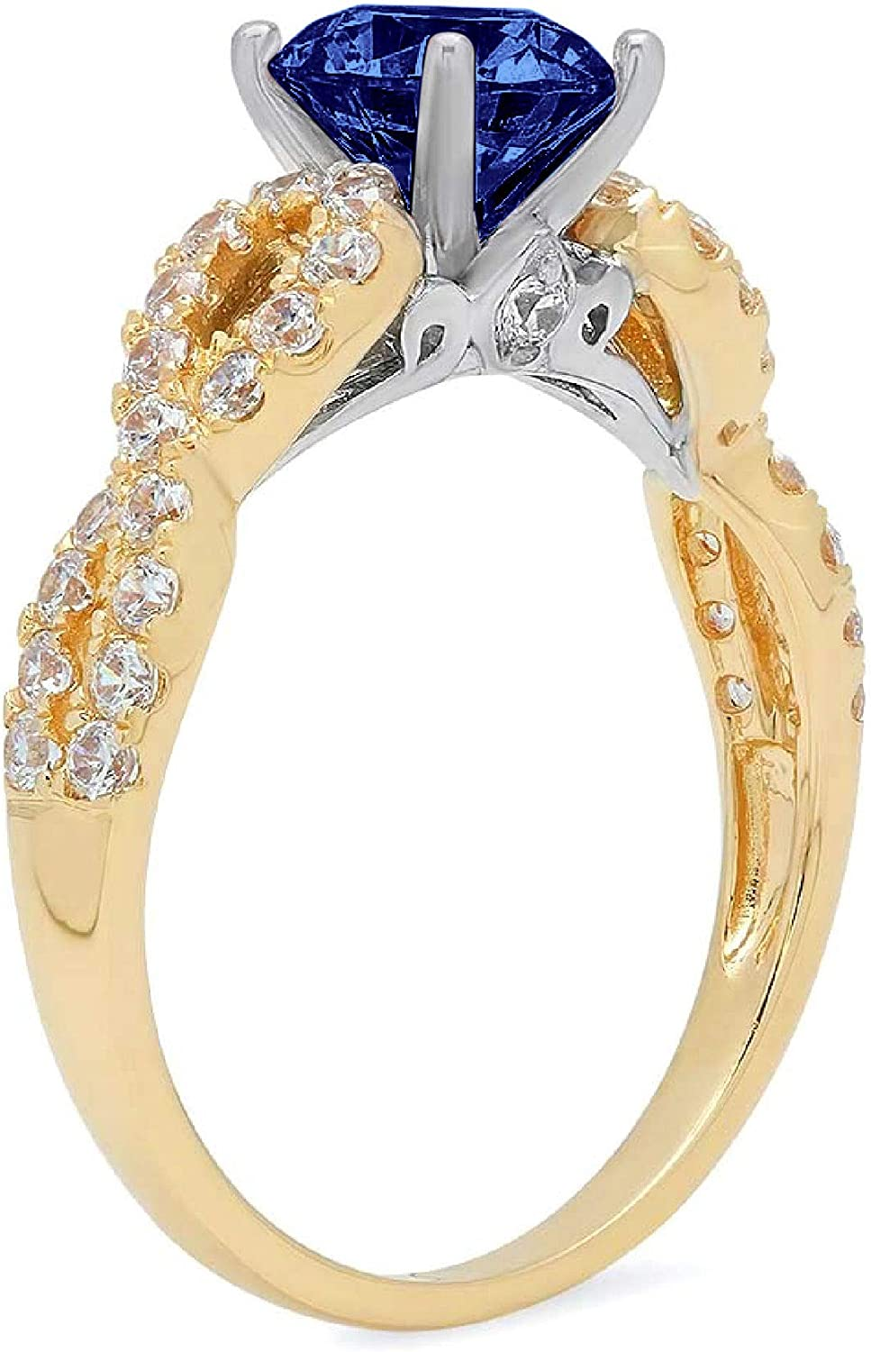 1.35ct Brilliant Round Cut Solitaire Genuine Flawless Simulated Tanzanite Gemstone Engagement Promise Anniversary Bridal Wedding Accent Ring Solid 18K 2 tone Gold