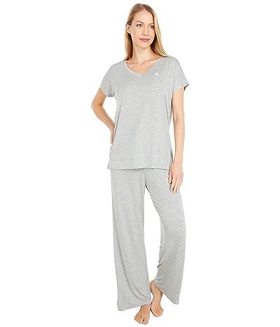 LAUREN Ralph Lauren Rayon Spandex Jersey V-Neck Dolman Sleeve Ankle Pants Pajama Set (Grey Dot) Women