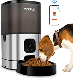 MOERUN Automatic Cat Feeder 9L Automatic Pet Feeder Food Dispenser Automatic Timed Cat Feeders Dual Powered Mode 20s Voice Recorder Automatic Dog Feeder for Pets