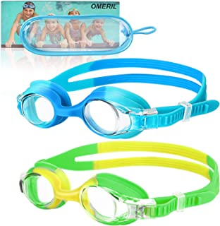 OMERIL Swim Goggles, 2 Packs Anti-Fog Leak Proof Kids Swimming Goggles. Flexible Nose Bridge, 3D Tight Fit Design, Wide View Swim Glasses with Portable Case for Children and Teens (Age 6-14)