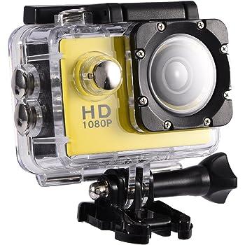 Serounder Cámara de acción 4K WiFi Impermeable 30m Deportes al Aire Libre Video DV Cámara 1080P Full HD LCD Mini Videocámara con 900mAh Baterías Recargables y Accesorios de Montaje Kits(Amarillo)