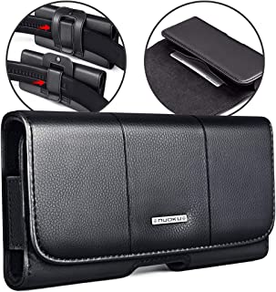 nuoku Horizontal Leather Phone Holster for iPhoneXs iPhone X 8 7 6 6S Belt Clip Holster Pouch Case with ID Card Holder for Max 5.8'' Phone with Other Slim TPU PC On(Max 5.8'' Black)