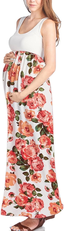 Beachcoco Women's Maternity Sleeveless Maxi Empire Waist Flower Printed Tank Dress Made in USA