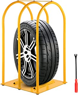 VEVOR Tire Inflation Cage, 3-Bar Tire Cage, Heavy-duty Car Tire Inflation Tool with A Tire Changer, Tire Inflation Accessories, Rugged Steel Frame Portable Tire Cage 520 x 547 x 1050 MM