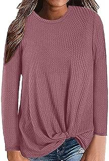 TUSANG Womens Sweatshirt Casual Long Sleeve Knot Waffle Knit Tunic Blouse Cute Shirts Tops Loose Comfy Tunic