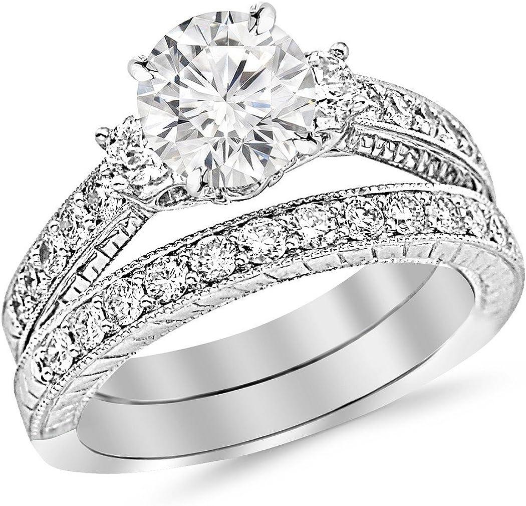 Houston Diamond District 1.88 Carat t.w. Round Shape/Center Three Stone Vintage with Milgrain & Filigree Bridal Set with Wedding Band & CZ Engagement Ring