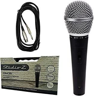 Studio Z Professional Handheld Unidirectional Dynamic Microphone DM-38 Black DJ Vocal Mic On/Off Switch with 16' Low Noise...