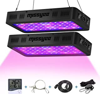 Missyee 2 Pack 600W LED Plant Grow Light with Thermometer Humidity Monitor, Adjustable Rope, Full Spectrum Double Switch Plant Light for Indoor Plants Veg and Flower - 600W (10W LEDs 60Pcs)