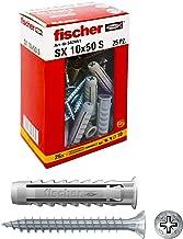 Fischer 542451 - Pluggen SX met Schroef, 10 x 50 mm, voor Volle Wand en Geperforeerde Baksteen, 25 Stuks