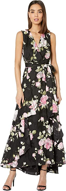 Printed Clipped Chiffon Floral Gown