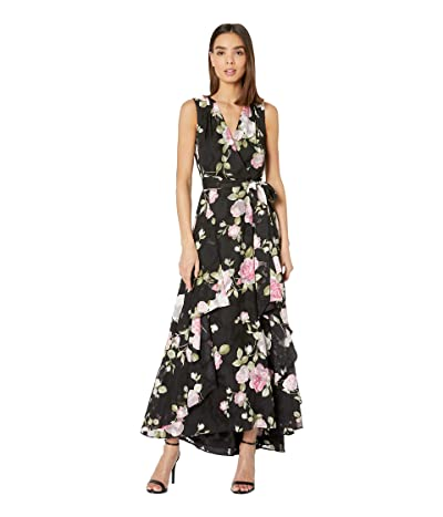 Tahari by ASL Printed Clipped Chiffon Floral Gown (Rose Garden Petal Pink) Women