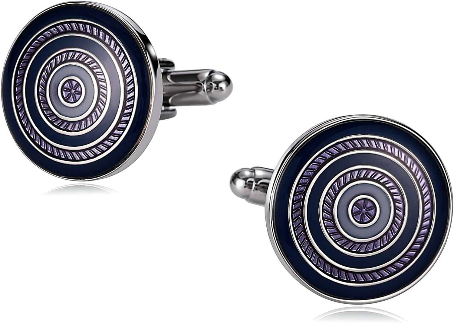 AMDXD Stainless Steel Free shipping anywhere in the Max 87% OFF nation Cufflinks Round Men Purple Blue