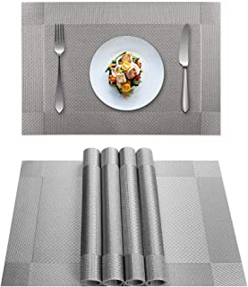 YISK Dinning Table Placemat,Crossweave Woven PVC Square Placemat Table Mats(Grey,6pcs placemats)
