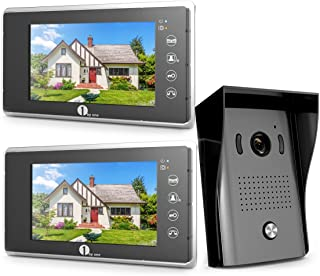 1byone Video Intercom System - Video Doorbell Kit, 7-inch Wired Door Phone System, 2 Color Monitor and 1 HD Camera Infrared LED Night Vision for Villa House Office Apartment