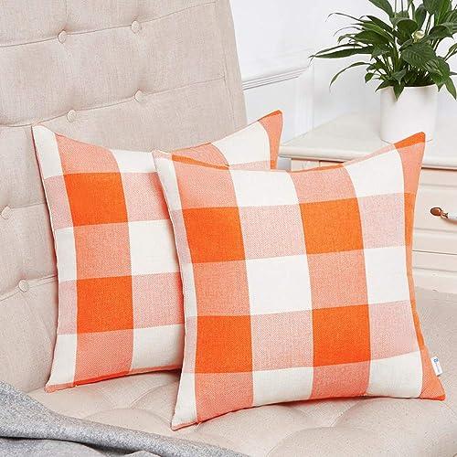 Anickal Set of 2 Fall Orange and White Buffalo Check Plaid Throw Pillow Covers Farmhouse Decorative Square Pillow Cov...