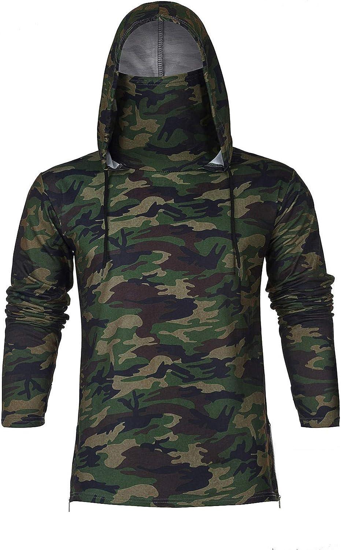 FUNEY Men's Mask Long Sleeve Shirts Hoodie Sweatshirt Casual Bodybuilding Training Gym Shirts Pullover Slim Fit Male Tops