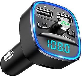 Cocoda Bluetooth FM Transmitter für Auto, Blaue Umgebende Leuchte Drahtloser Radio Kfz-Empfänger Adapter mit Freisprechein...