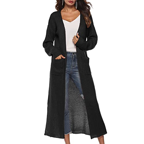 Long Cardigan Sweaters for Women with Pockets Side Split Light Weight Knit  Cardigan S - 3XL 4fb72b881