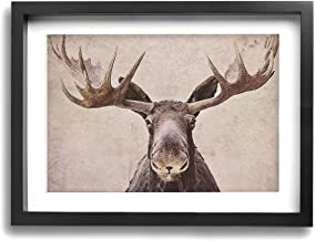 Kingsleyton Moose with Antler Modern Canvas Artworks Prints Pictures Wall Art Home Decorations Framed Ready to Hang 12