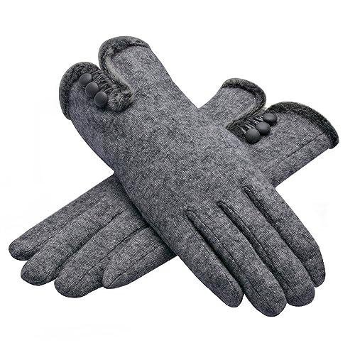 de359ab72 Lenikis Women's Three Buttons Winter Warm Wool Gloves