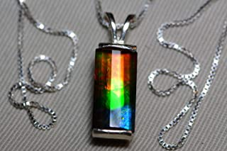 Ammolite Necklace, Sterling Silver, 16x8mm Pendant, Alberta Canada Gem Jewelry, Wood Gift Box, Real Natural Genuine Ammolite Jewellery T46