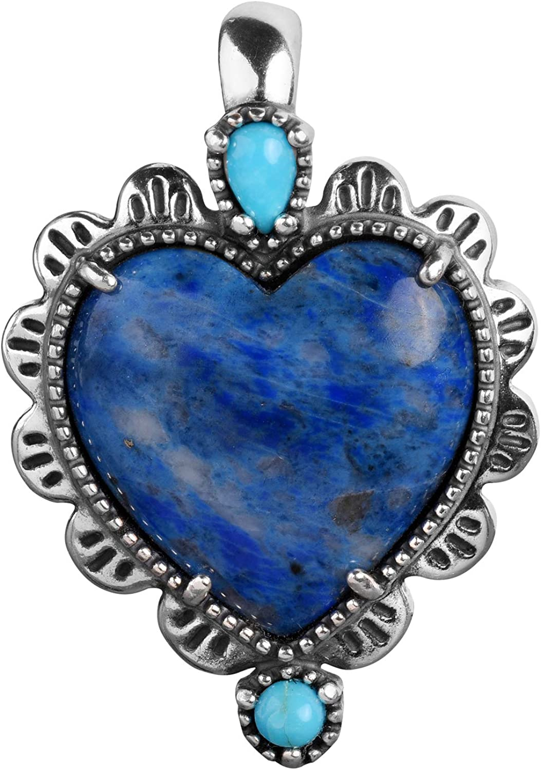 American West Pendant supreme Sterling Lapis Gemstone New York Mall Turquoise and Hear