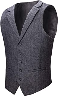 VOBOOM Mens Herringbone Tailored Collar Waistcoat Fullback Wool Tweed Suit Vest