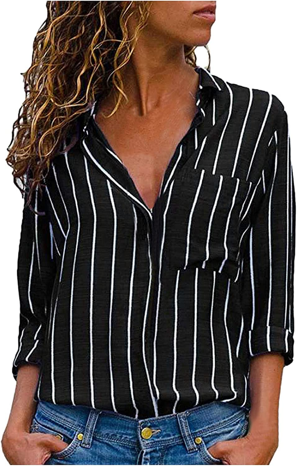 RFNIU Long Sleeve Shirts For Women Fall Fashion Casual Stripes Polo Button Up V-Neck Blouses To Wear With Leggings Tops