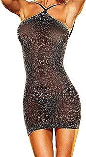 Lencería Mujer Ropa Interior elástica Mini Vestido sin Mangas Club Desgaste Transparentes Teddy