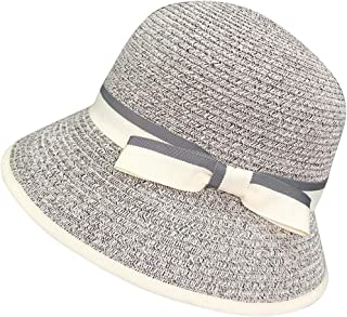 Hats Summer Outdoor Sports Women's Straw Hat Pure Color Cap and Cap Fashion (Color : Gray, Size : M)