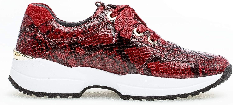 Gabor Damen Sneaker, Frauen Low-Top Sneaker,Comfort-Mehrweite,Optifit- Wechselfußbett Dark Red