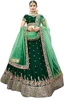 GREEN Indian Designer Party Silk Zari & Mirror Hand Work Women'a Ghagra Lehenga Choli Dupatta 6247