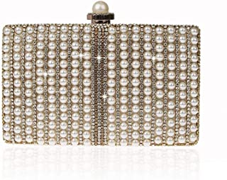 NSHUN Womens Clutch Luxury Evening Bags Full Beaded Artificial Pearls Handbag,Fashion Purse Evening Cluthes Bags for Wedding Parites Prom
