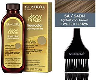 Clairol Soy4Plex LiquiColor PERMANENT Liquid HAIR COLOR Dye (w/Sleek Tint Brush) Gray Busters Permanente Professional Grey Haircolor (5A / 94DN Lightest Cool Brown Twilight Brown)