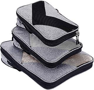 Compression Packing Cubes Travel Luggage Suitcase Organizer 3 Set (grey, One_Size)