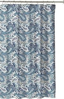 Marine Blue Taupe Beige White Decorative Fabric Shower Curtain: Paisley Design