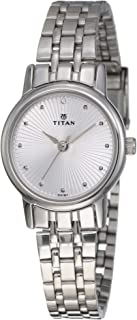 Titan Women's Silver Dial Stainless Steel Band Watch - 2593SM01