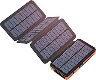 Tranmix Solar Charger 25000mAh Portable Power Bank with Type-C Input Waterproof Phone Charger Compatible with Smart Phones,Tablets and More