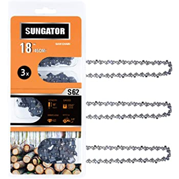 """SUNGATOR 3-Pack 18 Inch Chainsaw Chain SG-S62, 3/8"""" LP Pitch - .050"""" Gauge - 62 Drive Links, Compatible with Craftsman, Ryobi, Homelite, Poulan"""